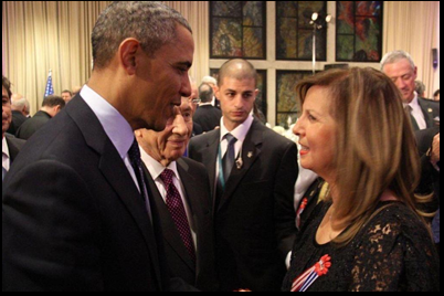 With he former President of USA Obama at the state dinner given by President Peres at his residence