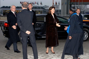 During the arrival of the King and Queen of Sweden